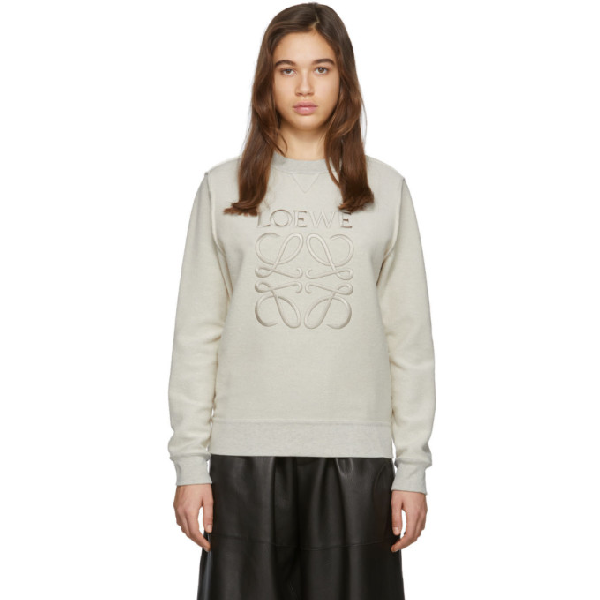 Loewe Anagram Logo-embroidered Cotton-jersey Sweatshirt In 2425 Ecrubl