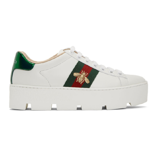 Gucci Ace Embroidered Platform Sneakers In White