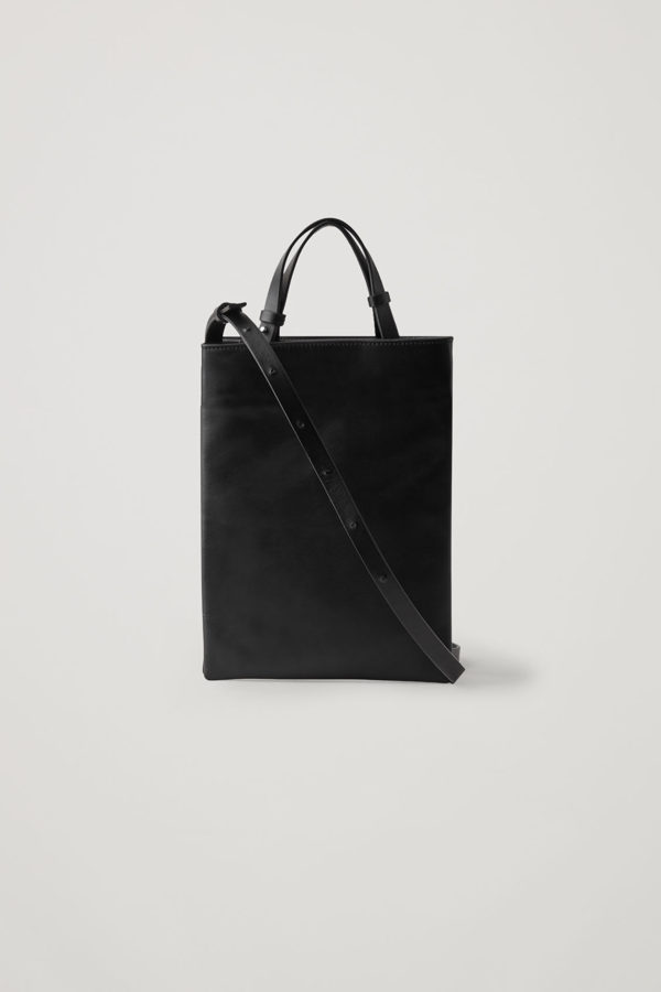 Cos Mini Leather Tote In Black