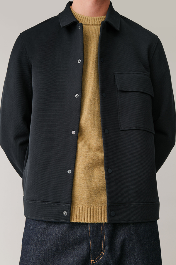 Cos Jersey Twill Shirt Jacket In Blue
