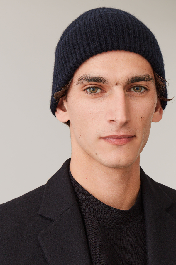 Cos Chunky Ribbed Cashmere Beanie In Blue