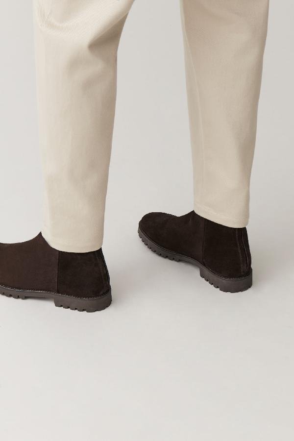Cos Waterproof-suede Zipped Boots In Brown