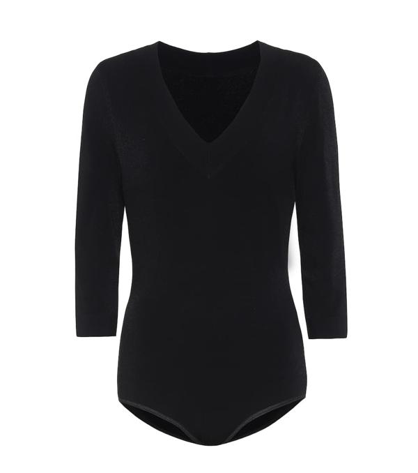 Alaïa 3/4-sleeve Viscose Bodysuit In Noir