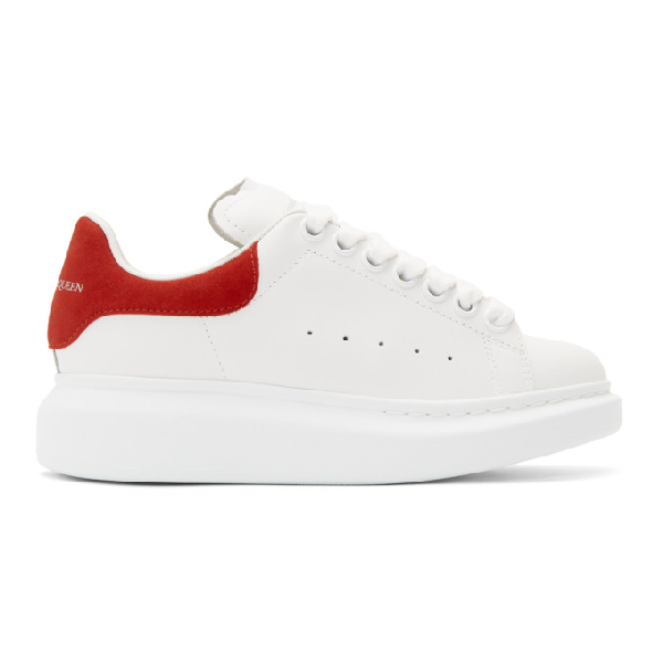 Alexander Mcqueen Suede-trimmed Leather Exaggerated-sole Sneakers In White/red