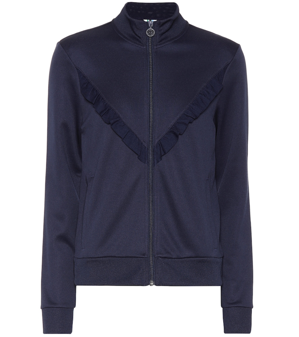 Tory Sport Ruffled Stretch-knit Track Jacket In Navy
