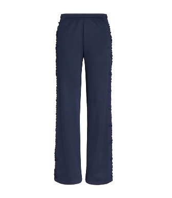 Tory Sport Ruffled Stretch-knit Track Pants In Storm Blue