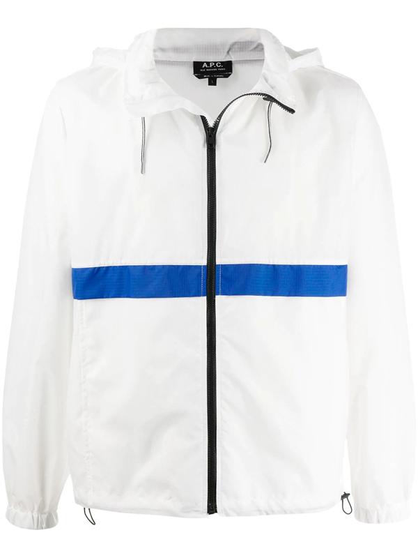 A.p.c. Men's Chemise Rami Stripe Track Jacket In White