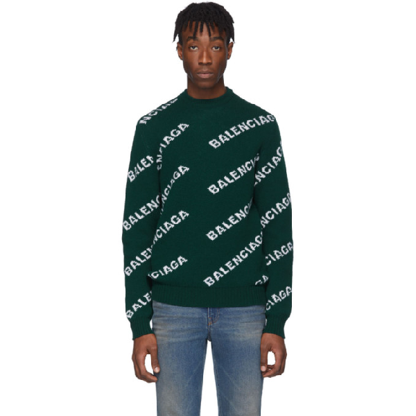 Balenciaga All Over Logo Wool Jacquard Sweater In 3067 Forest