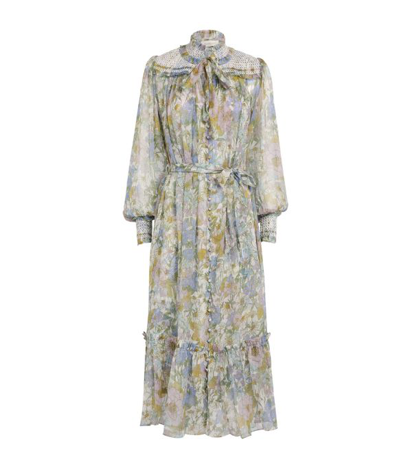 Zimmermann Super Eight Floral Midi Dress In Blue