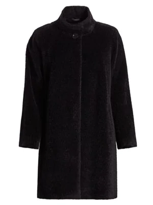 Cinzia Rocca, Plus Size Women's Stand-collar Wool & Alpaca A-line Walking Coat In Black
