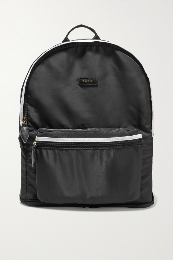 Paravel Fold-up Leather And Grosgrain-trimmed Shell Backpack In Black