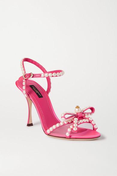 Dolce & Gabbana Faux Pearl-embellished Mesh-trimmed Satin Sandals In Pink