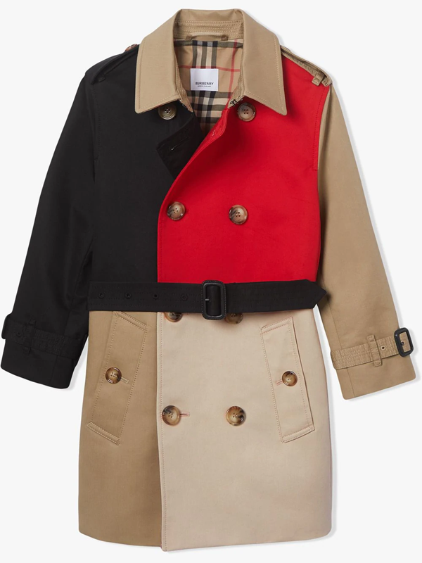 Burberry Kids' Colour Blocked Twill Trench Coat In Neutrals