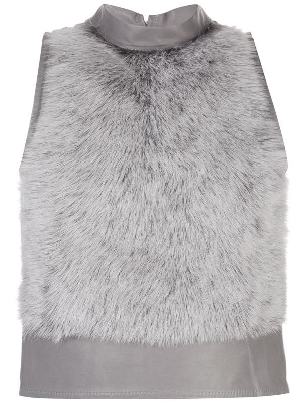 Ludovic De Saint Sernin Fur Sleeveless Top In Grey