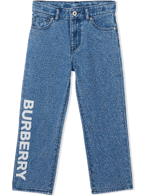 Burberry Teen Logo Print Japanese Jeans In Blue