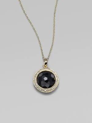 Ippolita Women's Lollipop Black Onyx, Diamond & 18k Yellow Gold Mini Pendant Necklace