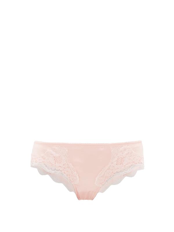 Dolce & Gabbana Lace-trimmed Silk-blend Satin Briefs In Pink