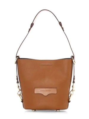 Rebecca Minkoff Women's Small Utility Convertible Leather Bucket Bag In Tan