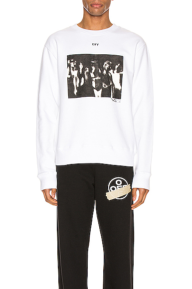 Off-white Spray Painting Slim Crewneck In White & Black