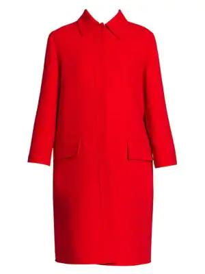 Valentino Women's Double Crepe Virgin Wool Coat In Red