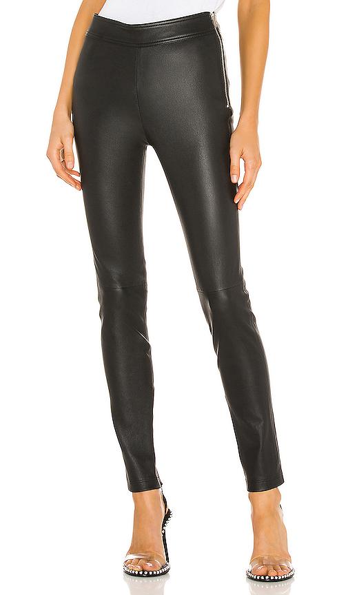 Helmut Lang Zip Leather Leggings In Onyx