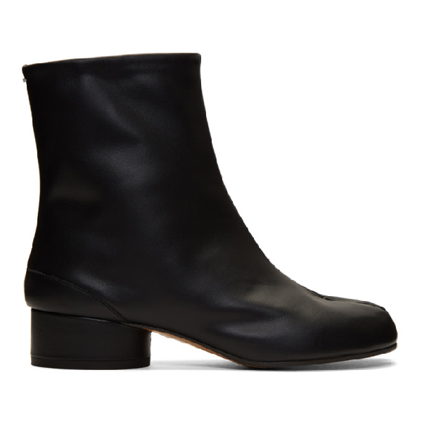 Maison Margiela Black Stretch Leather Tabi Ankle Boots