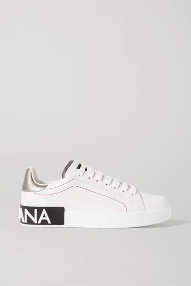 Dolce & Gabbana Dolce And Gabbana White And Silver Portofino Sneakers In 8b441 White