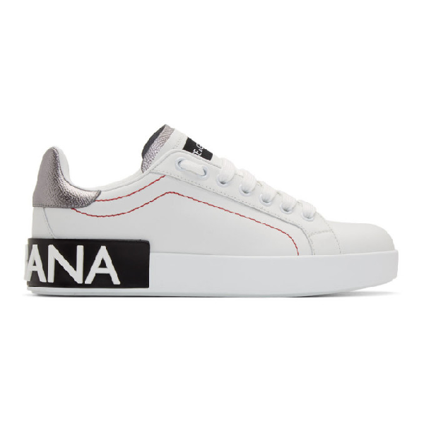 Dolce & Gabbana Metallic Leather-trimmed Logo Sneakers In White