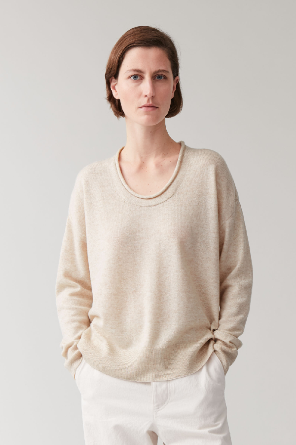 Cos Merino-cashmere Knitted Jumper In Beige