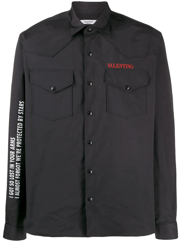 Valentino Men's Long Sleeve Shirt Dress Shirt Moon In Black