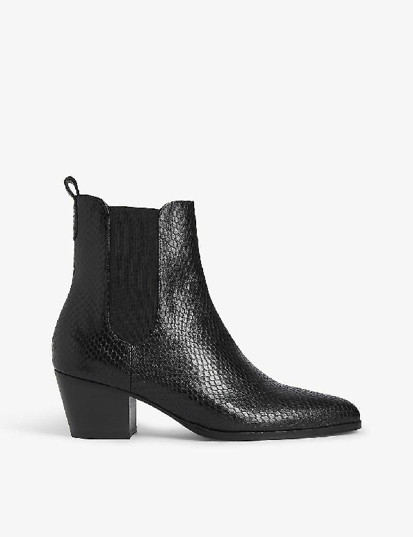 Claudie Pierlot Python-embossed Leather Ankle Boots In Black
