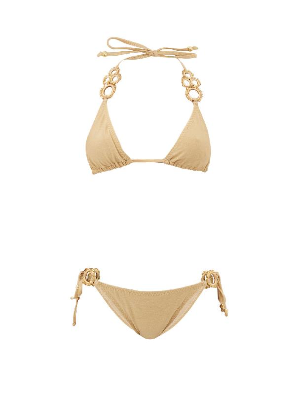 My Beachy Side Haluc Beaded Crochet-strap Lamé Triangle Bikini In Gold