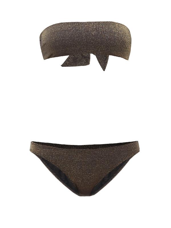 My Beachy Side Ban Metallic Bandeau Bikini In Black