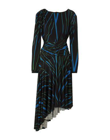 Preen By Thornton Bregazzi Melissa Asymmetric Ruched Striped Stretch-jersey Midi Dress In Black