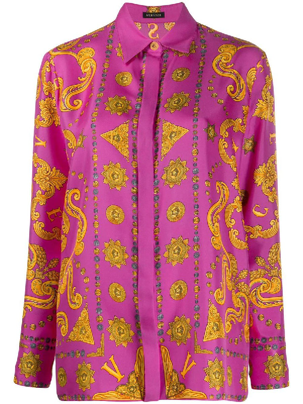 Versace Baroque Print Blouse In Pink