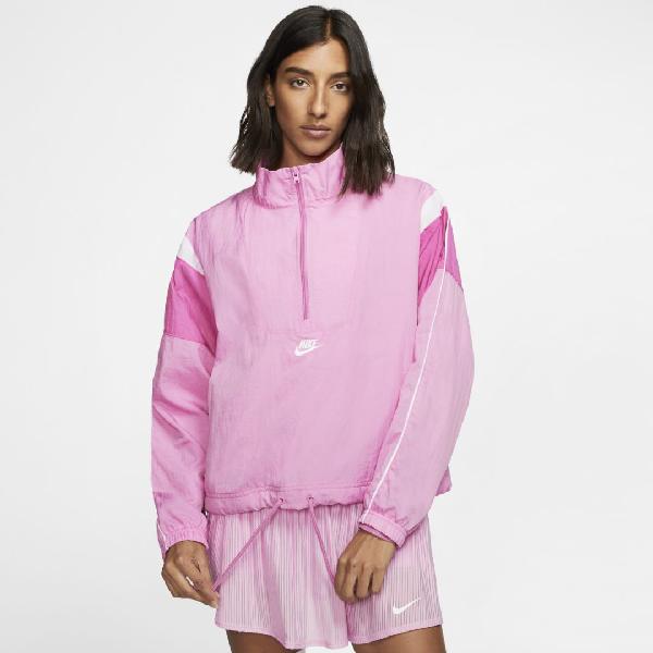 Taxi afeitado Rebajar  Nike Sportswear Heritage Women's Woven Jacket (plus Size) In Magic  Flamingo/cosmic Fuchsia/white/white   ModeSens