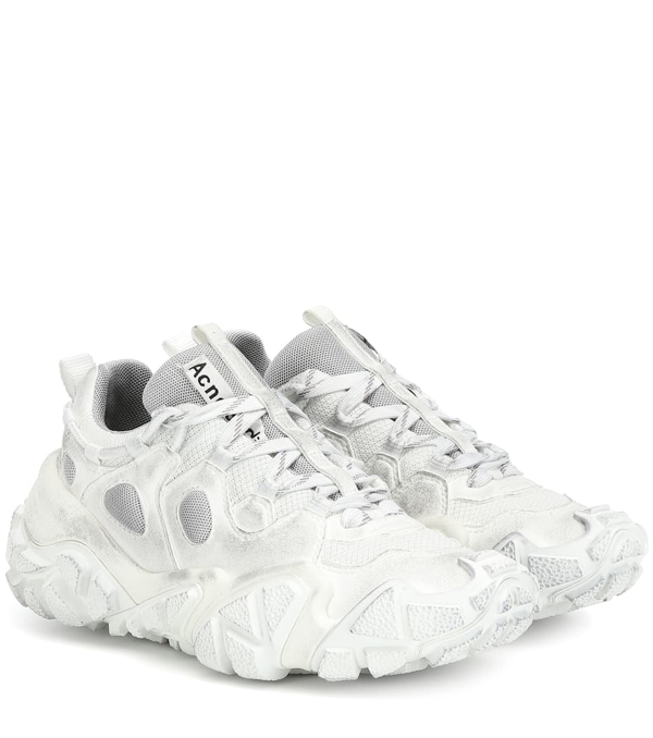 Acne Studios 'bolzter W Tumbled' Panelled Distressed Sneakers In White