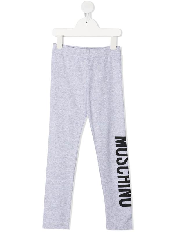 Moschino Kids' Logo-print Cotton Leggings In Grey