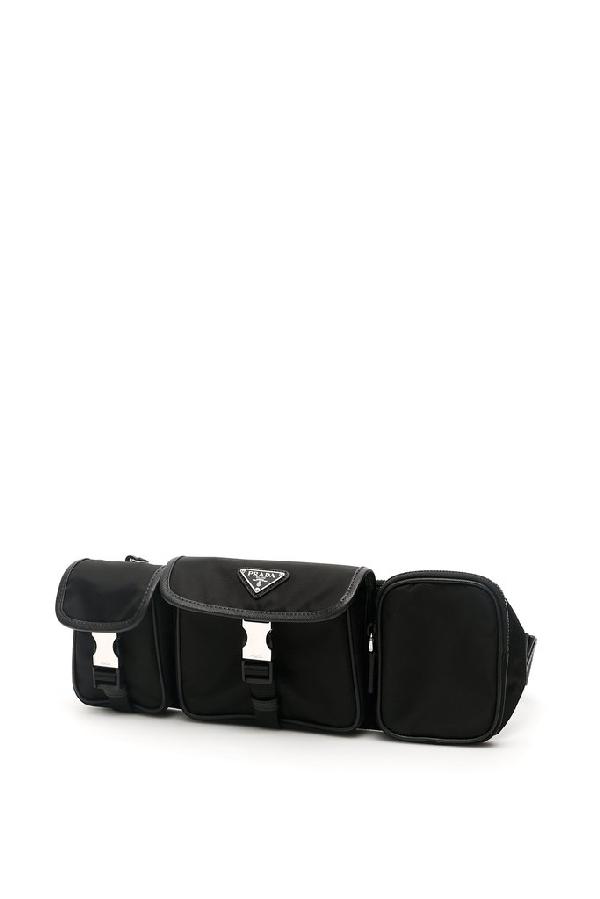Prada Tessuto Belt Bag In Black