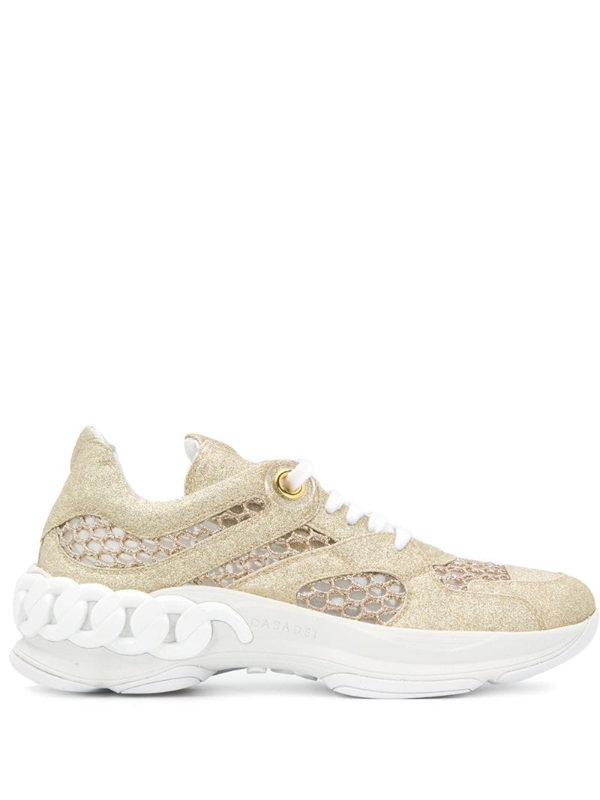 Casadei Glitter Low-top Sneakers In Gold