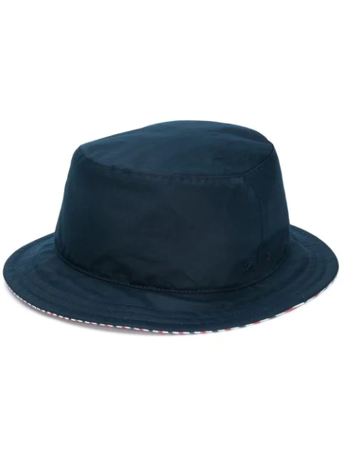 Thom Browne Grosgrain-trimmed Striped Wool Bucket Hat In Blue