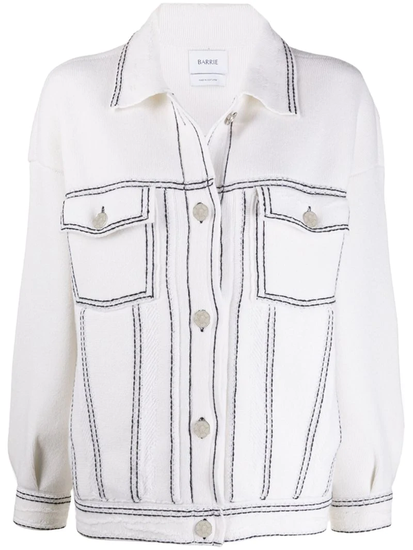 Barrie Oversized Knitted Cardigan Jacket In White