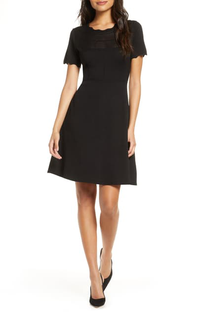 Julia Jordan Fit & Flare Sweater Dress In Black