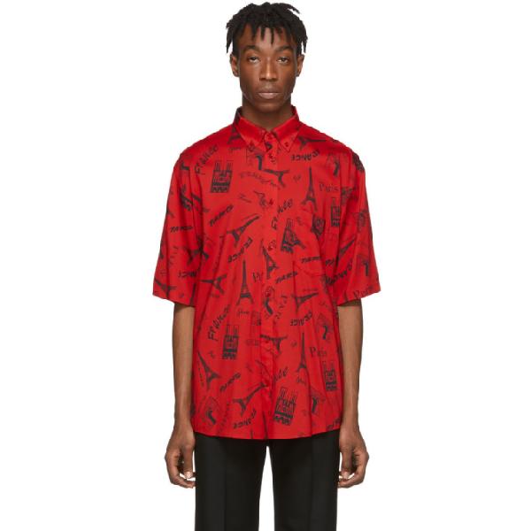Balenciaga Monument-print Cotton Short-sleeve Shirt In Red