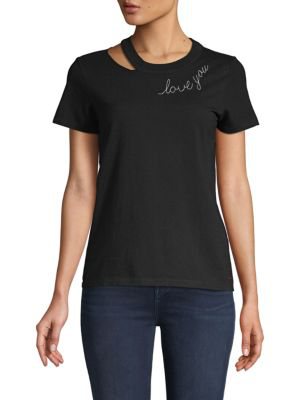 N:philanthropy Cutout Cotton Tee In Black