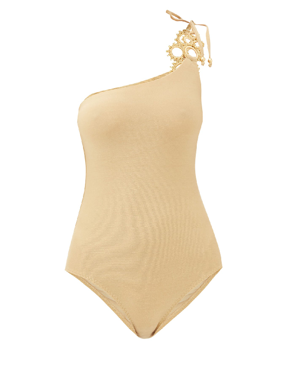 My Beachy Side Adja Embellished One-shoulder Swimsuit In Gold