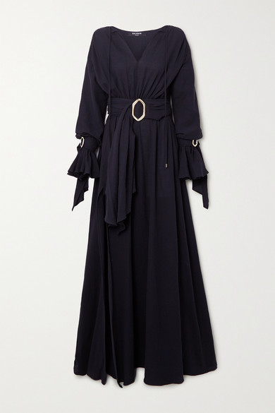 Balmain Belted Cotton-gauze Maxi Dress In Black
