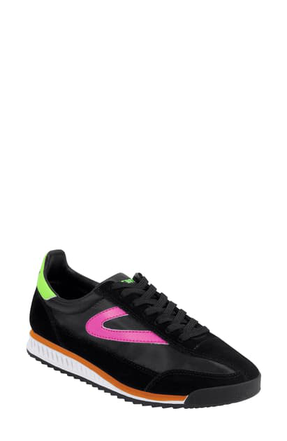 Tretorn Women's Rawlins 10 Low-top Sneakers In Black/black/fpink/fgreen