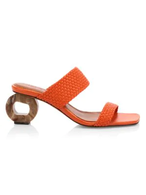 Souliers Martinez Women's Limon Woven Leather Mules In Ceramic