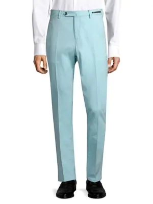 Pt01 Easy-fit Stretch Flat-front Trousers In Powder Blue